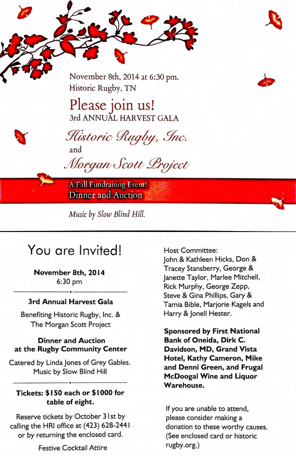 Come to our Harvest Gala on Nov. 8th!   Historic Rugby
