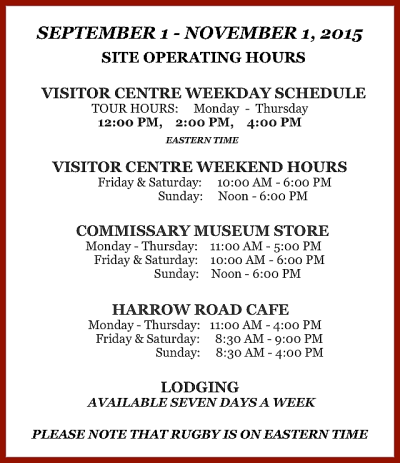 Site Operating Hours Sept.1- Nov.1, 2015 #5 PNG