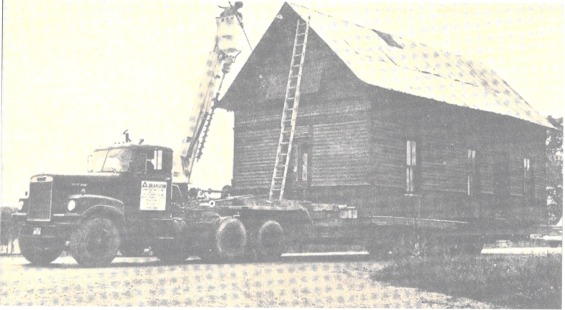 Rugby Printing Works Building being moved from Deer Lodge, 1978