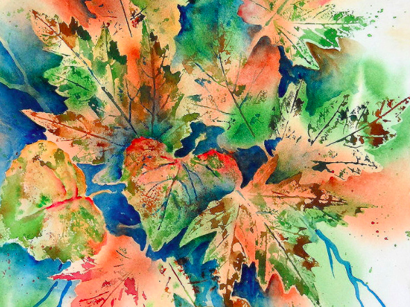 Watercolor Fall Leaves Painting Workshop, Oct. 16